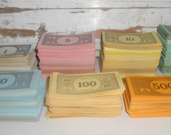 Vintage Monopoly Money, Thousands of Monopoly Money, Vintage Play Money, Game Parts