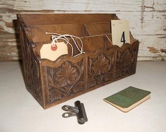 Vintage Plastic Letter Holder, Faux Wood Desk Caddy, Mail Organizer