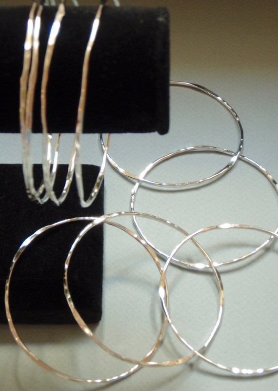 Price reduced  Shiny Hammered Silver Bangles