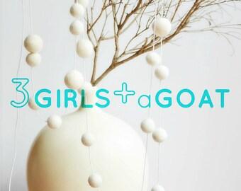 Merino White Felt Ball Garland | Rustic Nursery Decor | Trending Home Decor | Unique Gift for New Baby | Gift under 20