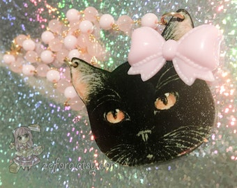 Black Cat Head Kawaii Kitty Pastel Pink Bow And Beads Necklace