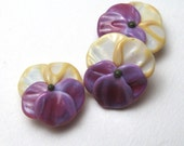 PANSY Beads,Lampwork Bead Pair handmade floral supplies for jewelry or embellishment, viola bead
