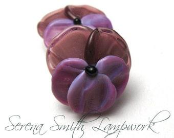 Lampwork Glass Beads, PANSIES, Spring Flowers in Amethyst and Bright Purple, handmade jewelry supply pair