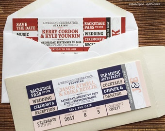 Concert Ticket Wedding Save The Date / Birthday / Shower / Party Invitation