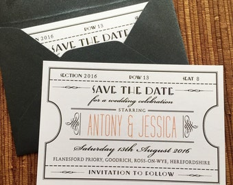 Vintage Ticket Wedding Save The Date / Digital DIY Printable PDF / Birthday Shower Dinner Party Invitation