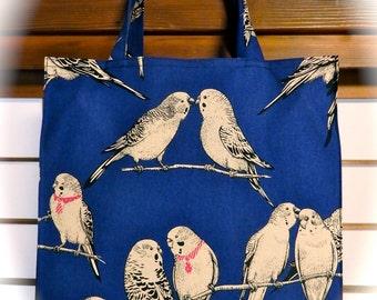 Royal Blue Parakeet Tote Bag / Budgie, Budgerigar, Parrot, Cockatoo, Cockatiel, Bird TIGHT 'N' TIDY Tote Bag, Reusable Foldable Shopping Bag