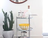 Tiered Round Chrome Rolling Bar Cart