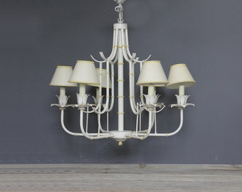 Large Faux Bamboo Pagoda Chandelier w/ Metal Shades White & Yellow