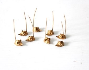 Gold Mice Cheese Hors D'Oeuvre Servers Skewers Picks Markers (Set of 8)