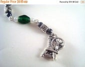 CLEARANCE SALE Green Spinning Wheel Cellphone Charm CH037 Green Spinning wheel cell phone charm