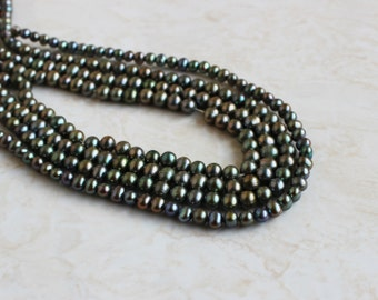 Freshwater Pearl Olive Teal Roundish Potato 5.5mm 85 beads