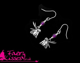 Sterling Silver Fairy Earrings - Damselfly with Amethyst - Exclusively designed by Faery Kisses