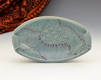 Unique boat bowls with Indian Paisley texture pattern READY TO SHIP