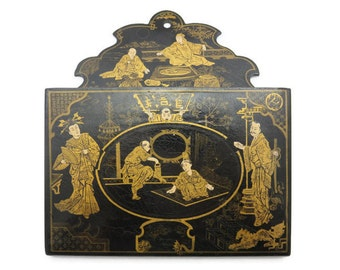 Chinese Lacquer Letter Holder - Mail, Wall Hanging, Black Lacquer, Gold Painted Scenes