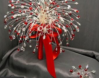 Ruby Medium Crystal Bridal Bouquet Set