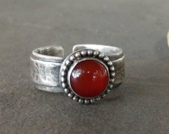 Reduced Price-Rustic-Carnelian-Gemstone-Sterling Silver-Adjustable OOAK-Artisan-Ring.
