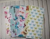 "Set of 6 8"" Children's Cloth Napkins Girls Mixed Print Lunchbox/Luncheon Napkins Set 8"