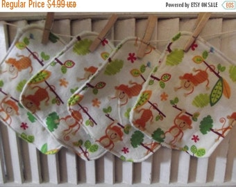 SALE 10% OFF Set of 4  Monkeys In Trees Print Children's Washcloths,Reusable Wipes, Napkins