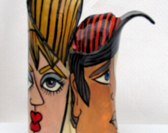Free Formed Miniature Ceramic Double Vase Hand Painted Impressionistic Faces on Etsy