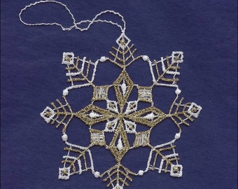 Germany Woven Cotton Thread Christmas White & Gold Snowflake Ornament For Crafting  LHS028