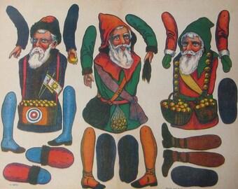 Germany Reprint Circa 1910 3 Santa Claus Jumping Jacks Jumbo Sheet
