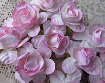 12 Handmade Paper Millinery Flowers Pale Pink Mix Garden Roses