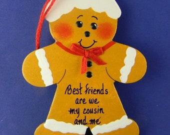 0007 Gingerbread shape. Free shipping. Message shown is a suggestion. Ornaments can be written with a message/name/date of your choice.