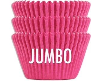 Jumbo Solid Electric Pink Baking Cups - 45 extra large paper cupcake liners
