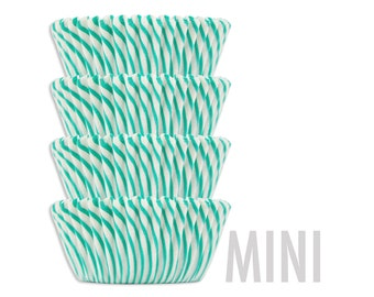 Mini Green Candy Stripe Baking Cups - green striped cupcake liners, cupcake papers