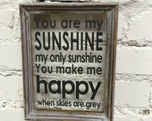 You are my sunshine dark grey on reclaimed frame - wall decor glass picture frame art