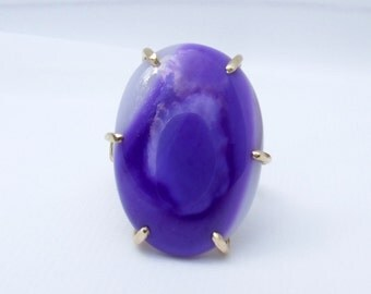 Purple Ring, purple agate ring, large stone ring, dyed agate jewelry, prong set, ring size 9