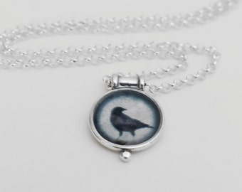 Miniature Crow Pendant in Sterling Silver Necklace with Fine Art Image Transfer and Resin June Hunter Photography, Crow Lover Gift