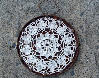 Wall Hanging Crochet Doily on Rusted Metal