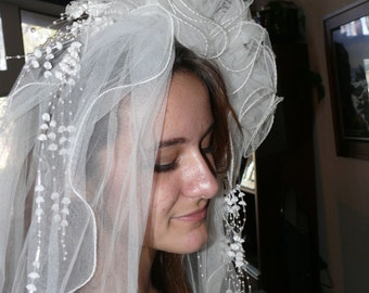 Vintage Wedding Veil with 12 foot  Cathedral Length Train - Floral Headband, Sequins, Pearls