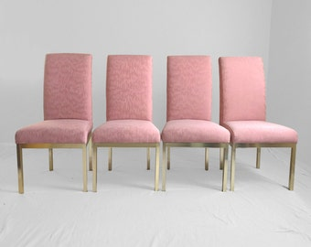 4 hollywood regency pink & brass tall back dining chairs
