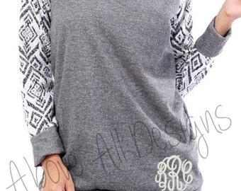SALE Monogrammed  Aztec Print Sleeves - Sweatshirt