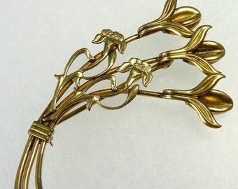Vintage Gold Filled Art Nouveau Lily Brooch White Company