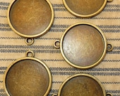 "5 Antique Brass 1"" Connector Round Blank Bezel Setting  Pendant Trays for Resin or Cabochons"