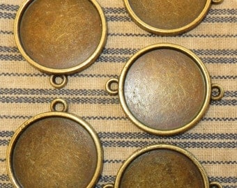 """5 Antique Brass 1"""" Connector Round Blank Bezel Setting  Pendant Trays for Resin or Cabochons"""