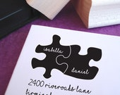 Puzzle Pieces Wedding Custom Address Stamp, Wedding Stamp, Custom Address Stamp, Wooden Stamp, Self Inking Stamp, Rubber Stamp