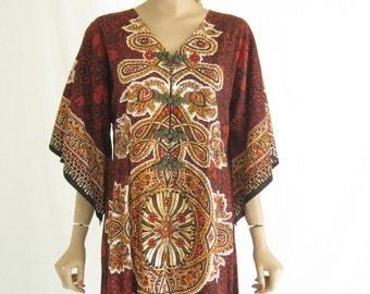 Vintage 70s Dashiki  Caftan Boho Maxi Dress