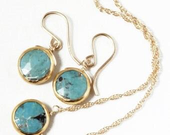 Genuine Turquoise 2-piece SET Adjustable Turquoise Necklace Turquoise Earring Turquoise Jewelry December Birthstone BZ-SET-105.2-Turq/g
