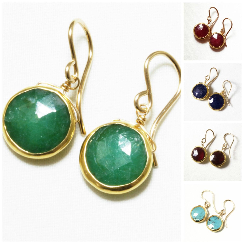 Real Life Emerald: Genuine Emerald Earrings Green Emerald Earrings 18k Gold Bezel