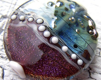 Lampwork Focal - dichroic dark red, blue, white, amber, silver - Liberty & Justice For All - SRA AutEvDesigns, ISGB