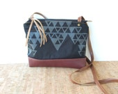 weekdayer • small crossbody bag - black geometric print • black on black geometric print - screenprinted - leather - gifts under 50 • vukani