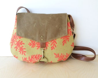satchel • waxed canvas crossbody bag - floral print • neon - hot pink fern prin - brown waxed canvas - spring bag • native