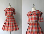 1950s Dress / Vintage 50s Shadow Plaid Day Dress / 50s Portrait Collar Pleated Cotton Dress