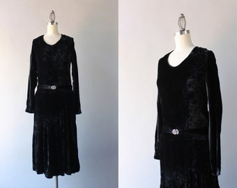 1920s Dress / Antique 1920s Black Velvet Dress / Vintage 20s Dress