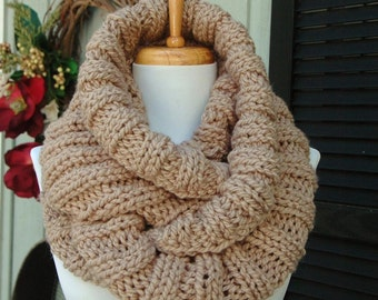Chunky Knit Infinity Scarf, Neutral Taupe Scarf, Knitted Scarf, Women Scarf, Knit Scarf, Winter Scarf, Vegan Scarf, Knit Circle Scarf,