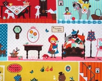 Panel Japanese Cotton Fabric Push Pin Kokka November Books Roomfull Nursery Tales Story